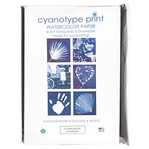 FOTOIMPEX Blue Sunprints Cyanotype Sensitized 5x7 Notecard Kit - Pack Of 6 Cards With Envelopes
