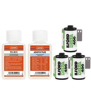 Bundle out of 3 X ILFORD Delta 400 135/36 + ADOX FX-39 TYPE II 100ml Concentrate + ADOX BABY ADOFIX Plus 100 ml Concentrate