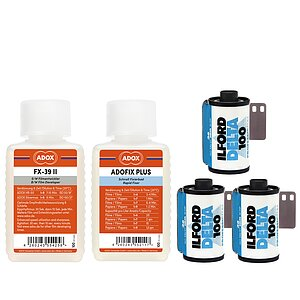 Bundle out of 3 X ILFORD Delta 100 135/36 + ADOX FX-39 TYPE II 100ml Concentrate + ADOX BABY ADOFIX Plus 100 ml Concentrate